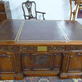 "6'3"" Carved Mahogany Presidential Desk (with Key)"