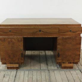 "4'6"" Walnut Art Deco Double Pedestal Desk with Closed Back"