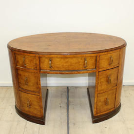 """3'8"""" Oak Pollard Oak Writing Desk with Seven Drawers"""