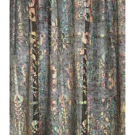 """Panel 2'1"""" x 3'6"""" Black / Multi Floral Silky Lace"""