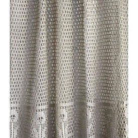 "Panel 2'6"" x 3' Beige Geo Flower Banded Cotton Crochet"