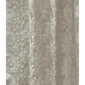"Pr Nets 3'6"" x 2'6"" Cream Wavy Flower Stripe Poly-Lace"