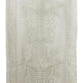 "Pr Panels 3' x 1'5"" Ivory Geo Bird Lace / Wooden Rings"
