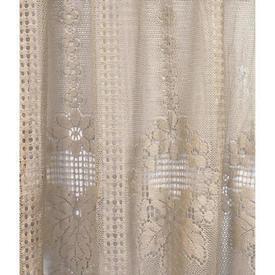 "Pr Nets 3'5"" x 3'6"" Dark Sand Floral Panel Stripe Lace"