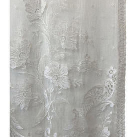 "Pr Panels 2'9"" x 1'9"" Ivory Floral & Scroll Lace"