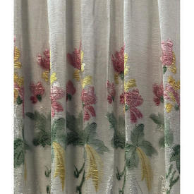 """Pr Nets 2'11"""" x 4'6"""" Ivory / Pink / Green Yellow Floral Silky Lace"""