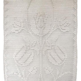 "Pr Panels 2'9"" x 1'6"" Ivory Tulip Motif Cotton Crochet"