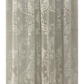 "Pr Nets 3'9"" x 6' Cream Floral Medallion Scroll Poly-Lace"