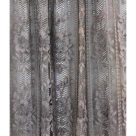 "Pr Nets 3'9"" x 2'3"" Dark Grey Floral Stripe Poly-lace"