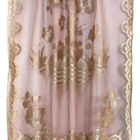 """Panel 3' x 2'6"""" Rose Floral Basket Silky Lace / Fringed"""