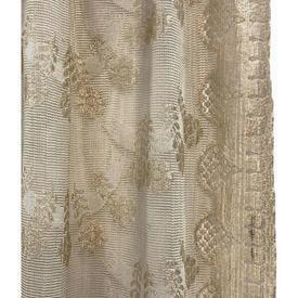"Pr Nets 3' x 2'6"" Ecru Floral Scallop Silky Lace"