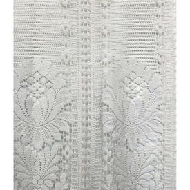 "Pr Nets 3' x 2'6"" Ivory Large Flower Motif Stripe Lace"