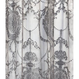 "Pr Nets 4'6"" x 4'6"" Grey Floral Medallion Poly-Lace"