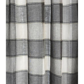 "Pr Nets 4' x 4'9"" Dark Grey / Ivory Check Voile"