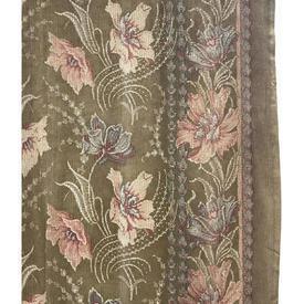 "Pr Nets 4'3"" x 3'9"" Olive / Pink Floral Print"