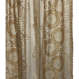 "Pr Nets 4'8"" x 3'3"" Gold Circ. Floral Silky Lace"