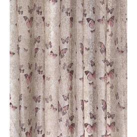 "Pr Nets 4' x 4'11"" Beige / Pink Butterflies Print Voile"