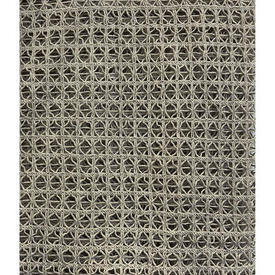 "Panel 4'8"" x 8' Dark Sand Geo Heavy Cotton Macrame / Fringed"