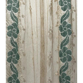 "Panel 4' x 2'6"" Pale Cream / Green Floral Silky Lace"