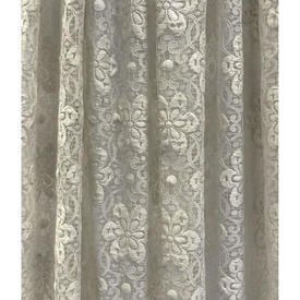 Pr Nets 4' x 4' Ivory All Over Circ Floral Poly-Lace