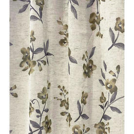 "Pr Nets 4'5"" x 4'9"" Cream / Grey Floral Branches Print Linen Effect"