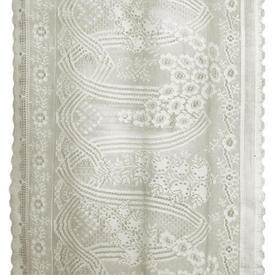 Pr Nets 9' x 2' Cream Geo Floral Heavy Lace