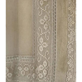 "Panel 10'8"" x 4'6"" Aged Dark Beige Mesh Lace / Crochet Inset / Trim"