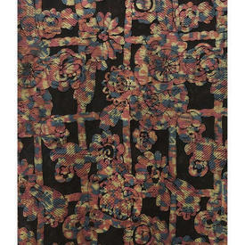 "Panel 9' x 3'9"" Black / Multi Geo Floral Madras Lace"