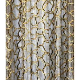"""Leg Net 9' x 6'6"""" Gold / Olive Geo Silk Emb Metallic Organza"""