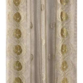 "Pr Nets 5' x 2'9"" Caramel / Yellow Circ Floral Silky Lace"