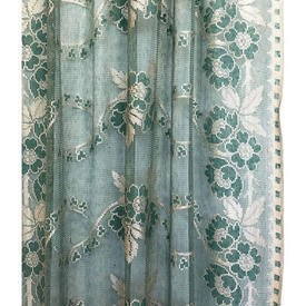 "Pr Nets 6'6"" x 3' Green / Ivory Floral Silky Lace"