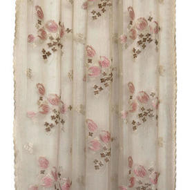 "Panel 5' x 2'9"" Cream / Pink Geo Floral Silky Lace"
