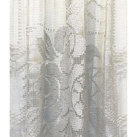 "Pr Shaped Nets 6'6"" x 3' Off White Large Floral / Scallop Mesh Lace / Fringe"