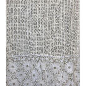 "Panel 6' x 6'6"" Off White Cotton Mesh / Circ Floral Crochet Inset"