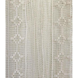 "Panel 6'10"" x 4' Cream Geo Stripe Cotton Macrame / Fringed"