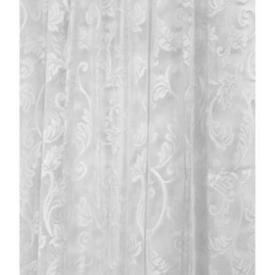Pr Nets 6' x 5' White Leaf Scroll Poly-Lace