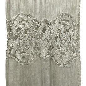 "Panel 5'3"" x 4' Cream Mesh / Inset Crochet Motif / Trim"