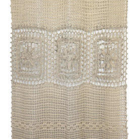 "Pr Nets 6'9"" x 2'3"" Dark Cream Geo Macrame / Flower Banded / Fringed"