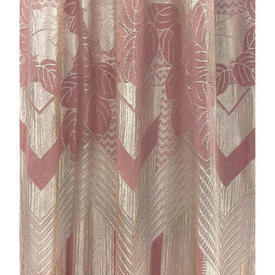 "Panel 5'3"" x 3'3"" Rose Pink / Ivory Geo Floral Silky Lace / Fringed"