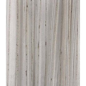 "Pr Nets 6'4"" x 8' Ivory / Brown Slub Stripe Weave"