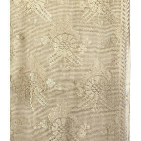 "Pr Nets 6'8"" x 3' Dark Cream Floral Silky Period Lace"