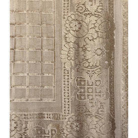 """Pr Nets 6'8"""" x 3' Fawn Grid Check / Floral Border Silky Lace"""