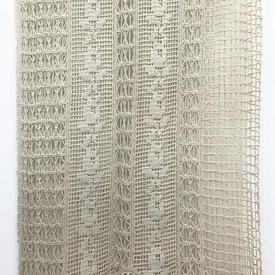 "Pr Nets 6'9"" x 4' Cream Macrame / Floral Crochet Stripe Inset Panels / Fringed"