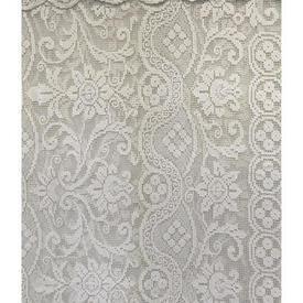 "Panel 6'4"" x 4' Ivory Geo Floral Heavy Cotton Crochet / Valanced"