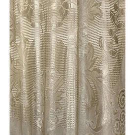 "Pr Panels 5'7"" x 3' Cream Large Floral & Leaf Silky Lace / Fringed"
