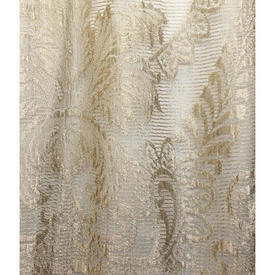 "Panel 6'9"" x 2'9"" Cream Large Leaf Motif Silky Lace / Fringed"
