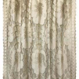 "Pr Nets 6'6"" x 3' Champagne Large Floral Silky Lace"