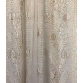 "Panel 6'8"" x 2'9"" Cream Spot & Leaf Border Silky Lace"