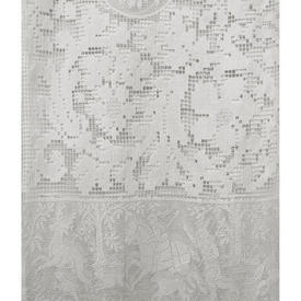 "Panel 6'8"" x 4' Off White Bird & Horseman Lace Panels / Lace Border / Fringe"