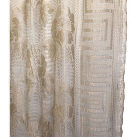 "Panel 6'6"" x 3' Ecru Floral & Geo Stripe Silky Lace"